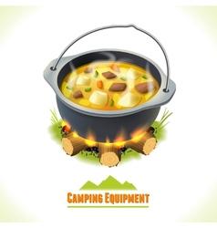 Camping symbol food pot vector