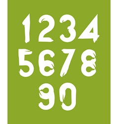 Handwritten white numbers on green backdrop vector