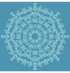 Round ornate pattern on blue background vector