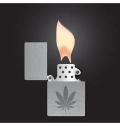 Silver cigarette lighter and flame isolated eps10 vector