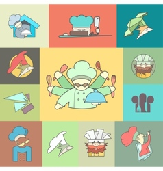 Restaurant chef flat logo or icon set vector