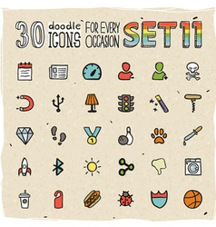 30 colorful doodle icons set 11 vector
