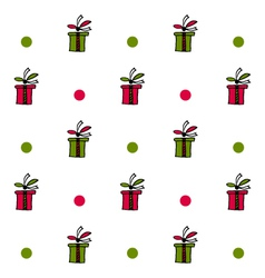 Seamless pattern with present boxes and circles vector