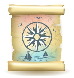 Scroll with vintage compass design and boats vector
