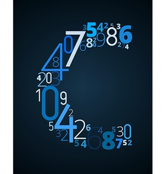 Letter c font from numbers vector