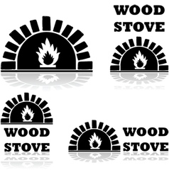 Wood stove and oven vector