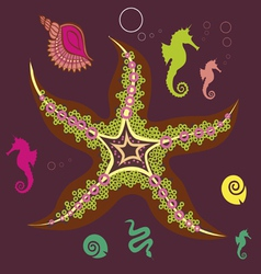 Underwater star print vector