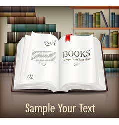 Books open with text on desk vector