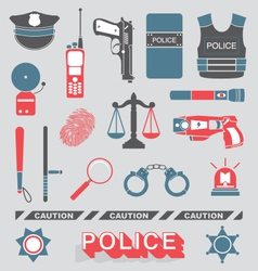 Police officer and detective icons vector
