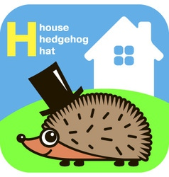 Abc house hedgehog hat vector