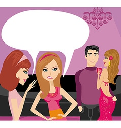 Girls gossiping about a pair of lovers vector