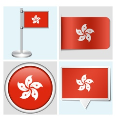 Hong kong flag - sticker button label flagstaff vector