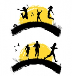 People jumping silhouette vector