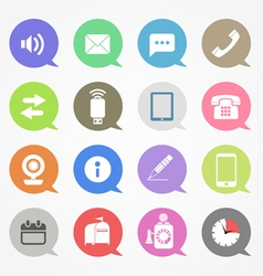 Communication web icons set in color speech clouds vector