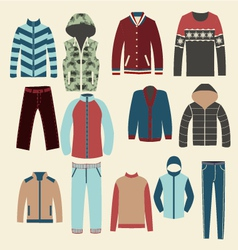 Winter clothes group of objects- vector