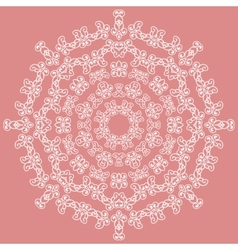Round white ornate pattern on pink background vector