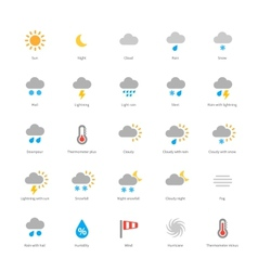 Weather colored icons on white background vector