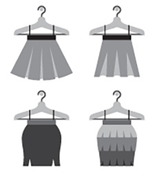 Black women skirts with hangers vector