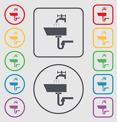 Washbasin icon sign symbol on the round and square vector