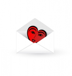 Mail envelope with abstract heart vector