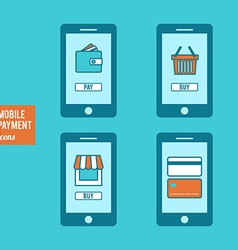 Mobile payment icons set vector
