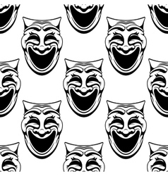Seamless pattern with theater comedy masks vector
