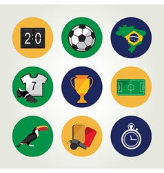 Soccer icon set brazil summer world game flat vector