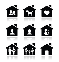 Home family icons set vector