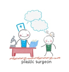 Plastic surgeon t work talking to a patient vector