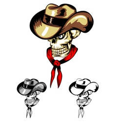 Skull in cowboys hat vector