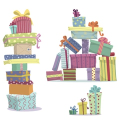 Piles of presents doodle heaps of gift boxes vector