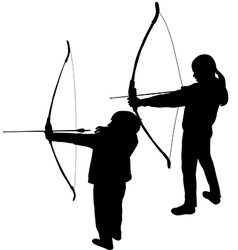 Children silhouettes playing archery vector
