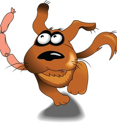 Dog with sausages cartoon vector