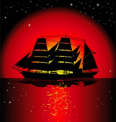 Sailboat at sunset vector