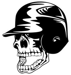 Skull in baseball helmet vector