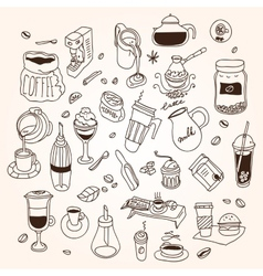 Hand drawn sketch doodle vintage simple coffee vector