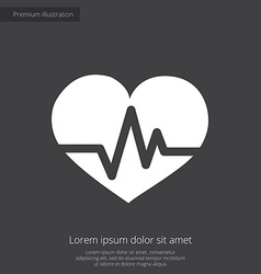 Heart pulse premium icon white on dark background vector