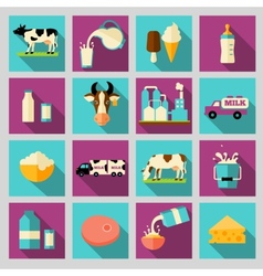 Set of icons for milk dairy products production vector