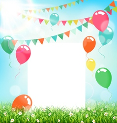 Celebration background with frame buntings air vector