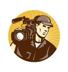 Cameraman film crew pro video movie camera vector