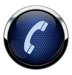 Blue honeycomb phone icon vector