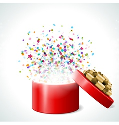 Open gift with fireworks from confetti vector