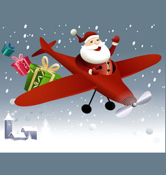Santa claus flying in plane vector