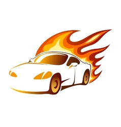 Modern luxury sporty coupe with burning flames vector