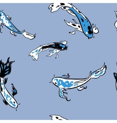 Blue koi carps in pond seamless pattern vector
