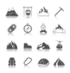 Mountain icons black vector