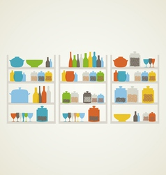 Shelf on kitchen vector