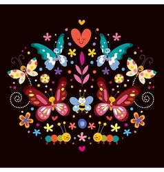 Butterflies flowers nature vector