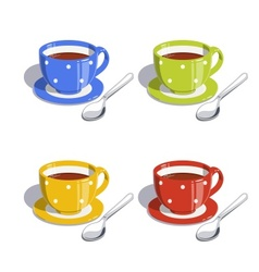 Tea cup and spoon set of vector