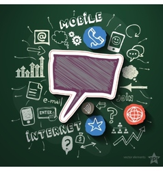 Mobile internet collage with icons on blackboard vector